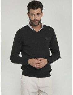 Jersey Sir Raymond Tailor de cuello pico - black