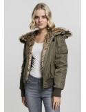 Urban Classics chaqueta bomber con pelo sintético para mujer - olive