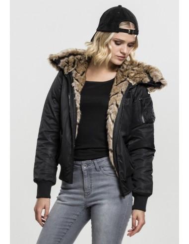 seleccione para el último estilo novedoso 2019 profesional Urban Classics chaqueta bomber con pelo sintético para mujer - black