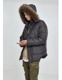 Parka Urban Classics acolchada con capucha de pelo sintético - black