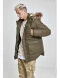 Parka Urban Classics acolchada con capucha de pelo sintético - verde militar