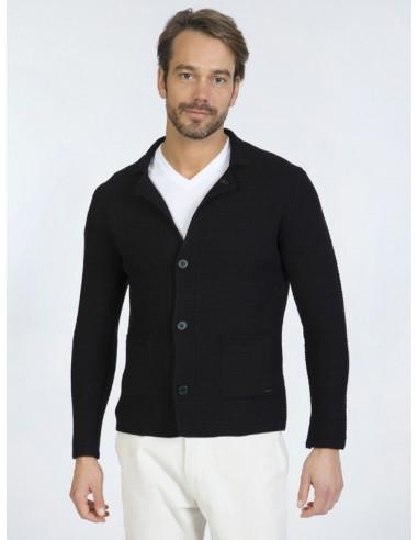 Cardigan Sir Raymond tricot - black