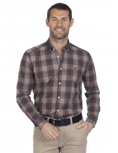 Camisa Sir Raymond Tailor plaid marrón claro