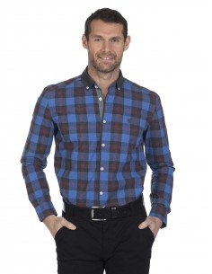 Camisa Sir Raymond Tailor plaid royal