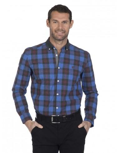 Camisa Sir Raymond Tailor plaid royal