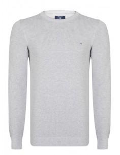 Jersey Gant texturizado en cuello redondo - gris melange