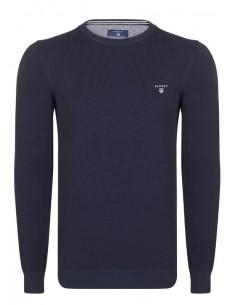 Jersey Gant texturizado en cuello redondo - navy