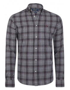 Camisa Polo de hombre regular fit flanel - dark grey
