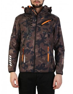 Chaqueta Geographical Norway en softshell camo kaky orange