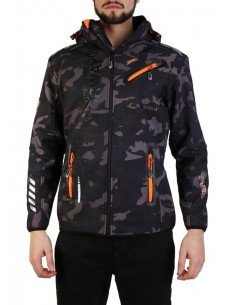 Chaqueta Geographical Norway en softshell camo black orange