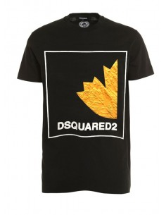 Camiseta dsquared negra con estampado 3D
