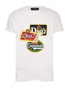 Camiseta dsquared blanca con estampado gráfico