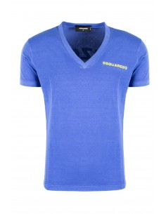 Camiseta dsquared washed cuello V - royal blue
