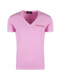 Camiseta dsquared washed cuello V - pink
