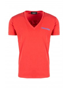 Camiseta dsquared washed cuello V - coral red