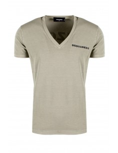 Camiseta dsquared washed cuello V - beige
