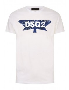 Camiseta dsquared logo print - white blue