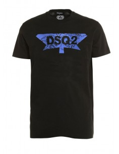 Camiseta dsquared logo print - black blue