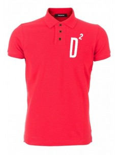 Polo dsquard slim fit label - red d2