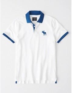 Polo AF con cuello a contraste - blanco/azul