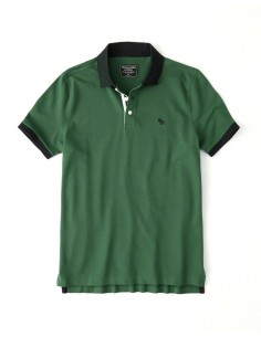 Polo AF con cuello a contraste - green/navy