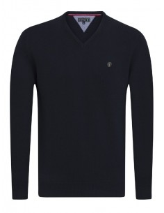 Jersey Sir Raymond Tailor de cuello pico - dark navy