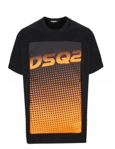 Camiseta dsquared print - black orange