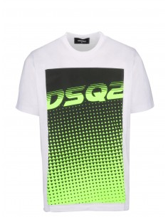 Camiseta dsquared print - white green