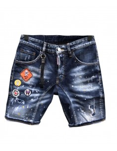 Dsquared bermudas denim biker parches - azul medio
