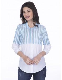 Camisa Sir Raymond Tailor para mujer - colorblock turquesa