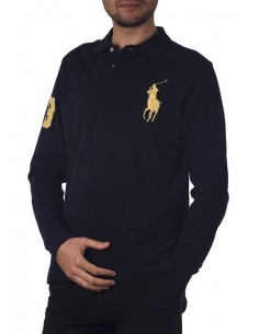 Polo manga larga big pony - navy/yellow