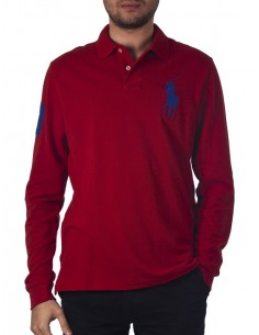 Polo manga larga big pony - red/navy
