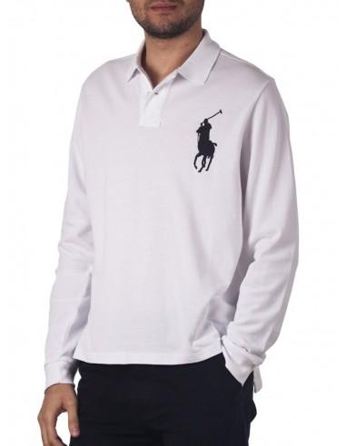 Polo manga larga big pony - blanco/navy