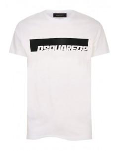 Camiseta dsquared con logo a contraste - blanca