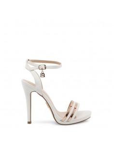 Sandalias Laura Biagiotti modelo Nabuk tacón para mujer color blanco