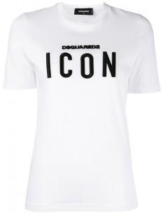 Camiseta dsquared para mujer blanca - Icon bordada
