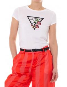 Camiseta de manga corta Guess para mujer estampado blanco