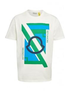 Camiseta Moncler estampado frontal - blanca
