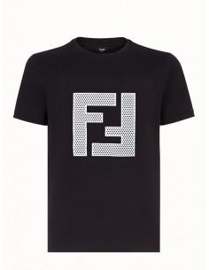 Fendi camiseta para hombre negra con F estampada