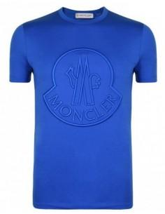Camiseta Moncler bordado frontal - azul eléctrico