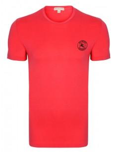 Burberry camiseta roja para hombre con logo bordado en negro
