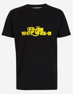 Off White camiseta para hombre - black/yellow