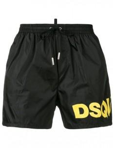 Bañador dsquared logo en pierna - negro/amarillo