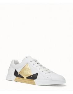 Zapatillas Fendi de caña baja en piel blanca y accento dorado
