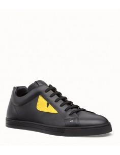 Zapatillas Fendi de caña baja en piel negra y accentos amarillos