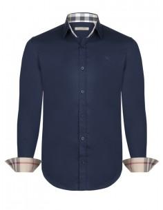 camisa burberry puños contraste | navy