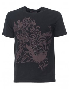 Trussardi camiseta para hombre pedrería - black