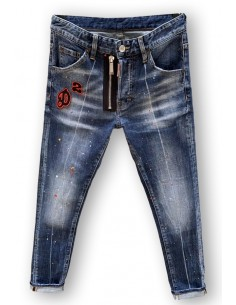 Vaqueros Dsquared para hombre regular slim doblezip - blue