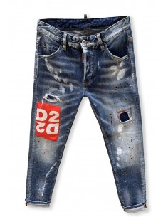 Vaqueros Dsquared para hombre regular slim parcheado - light blue