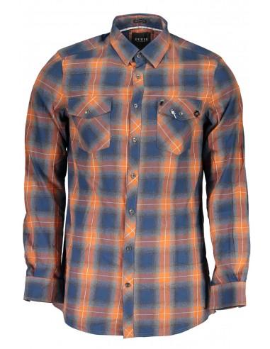Camisa Guess para hombre en cuadros azul y naranja